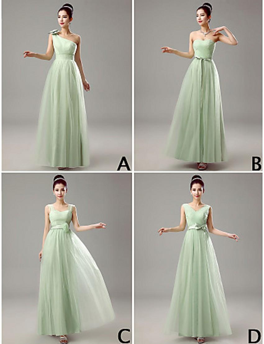 Four style different bridesmaid dresses for cheap chiffon bows four style different bridesmaid dresses for cheap chiffon bows hand made flower sage long a line wedding party gowns women prom wear wwl contemporary ombrellifo Choice Image