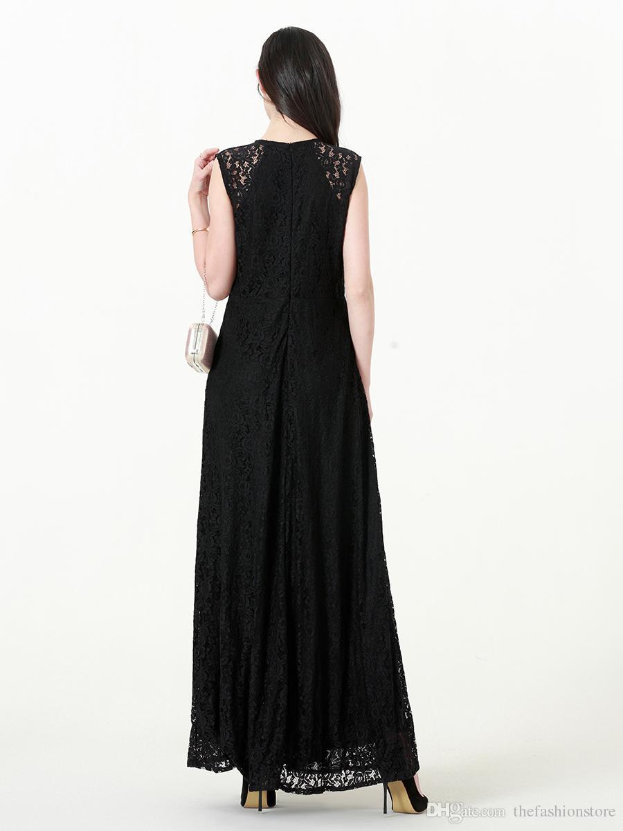 2018 Yeni Varış Kadın Kolsuz Dantel Maxi Elbise Artı Boyutu Yüksek Bel Siyah Akşam Parti Elbise L-7XL