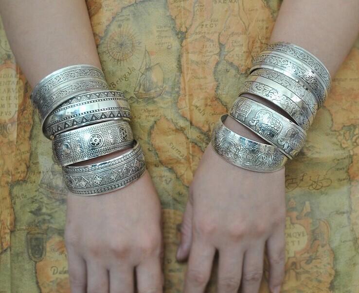 Bracelets & Bangles Bohemian Antalya Bracelet Silver Vintage Flower Statement Boho Coachella Bangles For Women Jewelry Gift Chain & Link Bracelets