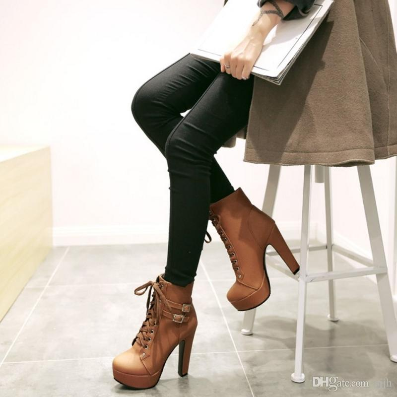 SJJH Women Ankle Boots with Large Size and High Chunky Heel and Thick Platform Rivet Boots Sexy Boots for Parties Q078