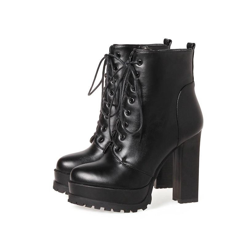 54675494e7fe7 2018 New Spring Fashion Women Boots High Heels Platform Buckle Lace Up  Leather Short Booties Black Ladies Shoes Good Quality Riding Boots Cheap  Shoes From ...