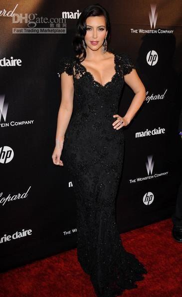 2019 Kim Kardashian Vestido De Noite Sereia Preta Com Decote Em V Crtstal Manga Curta Rendas Celebrity Red Carpet Evening Vestidos Vestidos de Baile