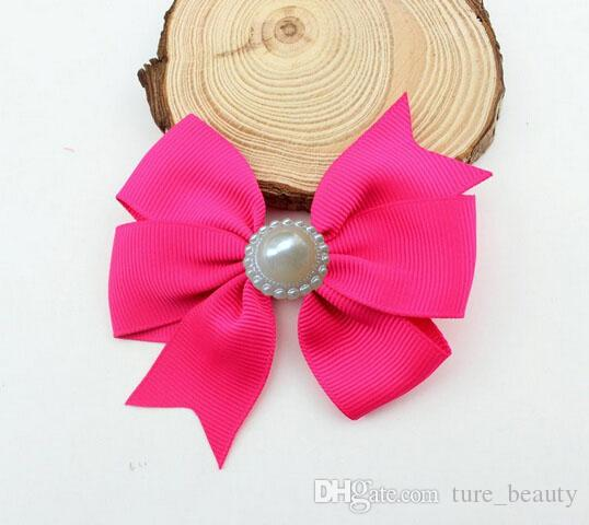 10%OFF 2015 hot sale 3 inch Pearl bow Ribbon Baby Boutique Hair Bows with Clips Pearl Fashion Girl Hair baby Hair pins