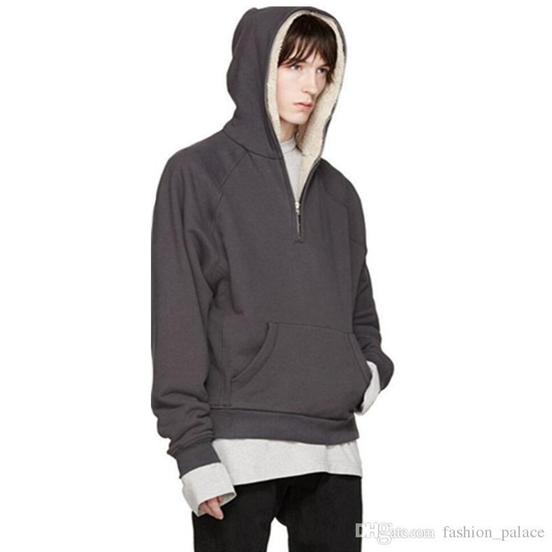 492c52e8b Fear Of God Winter Hoodie Men Cashmere Hood Half-Zip Jacket Black Gray  Hooded Casual Sweatshirt Hip Hop Oversized Hoodies Streetwear YYG1013