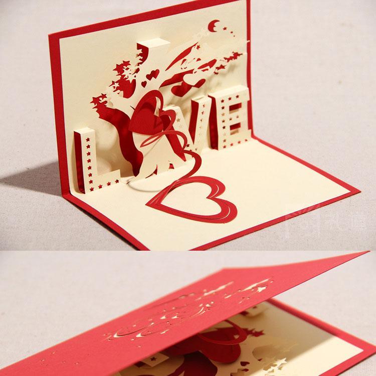 1015cm Love Heart Handmade Paper Creative 3d Pop Up Gift Greeting
