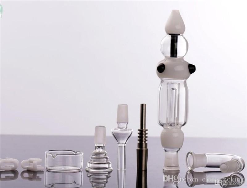 completo di tubi in vetro fumatori Nettare Collettore raffreddato ad acqua Essenziale Vaporizzatore Miele Pagliaio Netar Collettore Paglia 14.4mm Grande