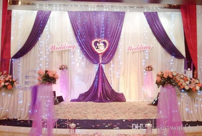 3m*6m Satin Fabric Curtain Wedding Stage Backdrop Party Celebration ...