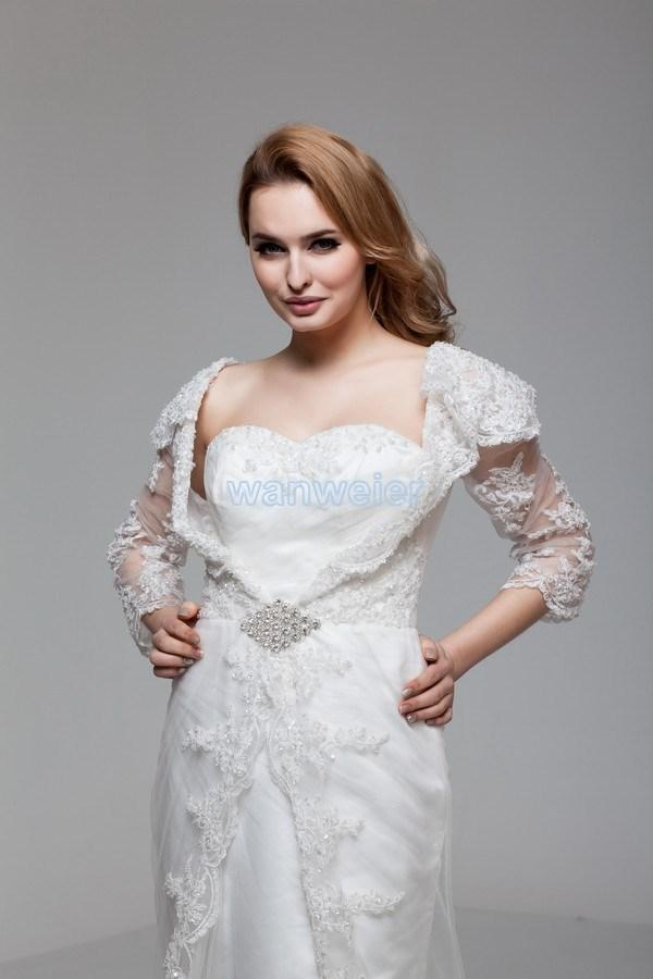 2018 new design hot custom size/color bridal gown Muslim with lace jacket long sleeve white/ivory wedding dress