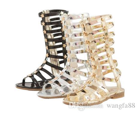 36bddc9271ba Fashion Infant Toddler Kid Children Fashion Gladiator Sandals  Black Silver Golden Baby Girl Summer Boots 2 9Years Sapatos Infantil Girls  And Boys Shoes ...