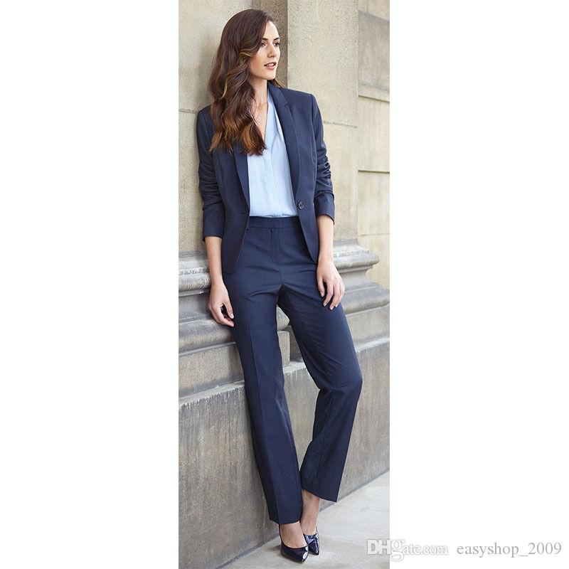 Acheter Blazer Bleu Marine Femme Costumes Femme Costume Femme Pantalon  Uniforme 2 Veste + Pantalon Sur Mesure De  94.53 Du Easyshop 2009    DHgate.Com 97e6f0b7889f
