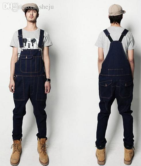 Wholesale-Denim Overalls Men Bib Jeans 2015 New Fashion Overall Jeans Jean Button Jeans Canada ...