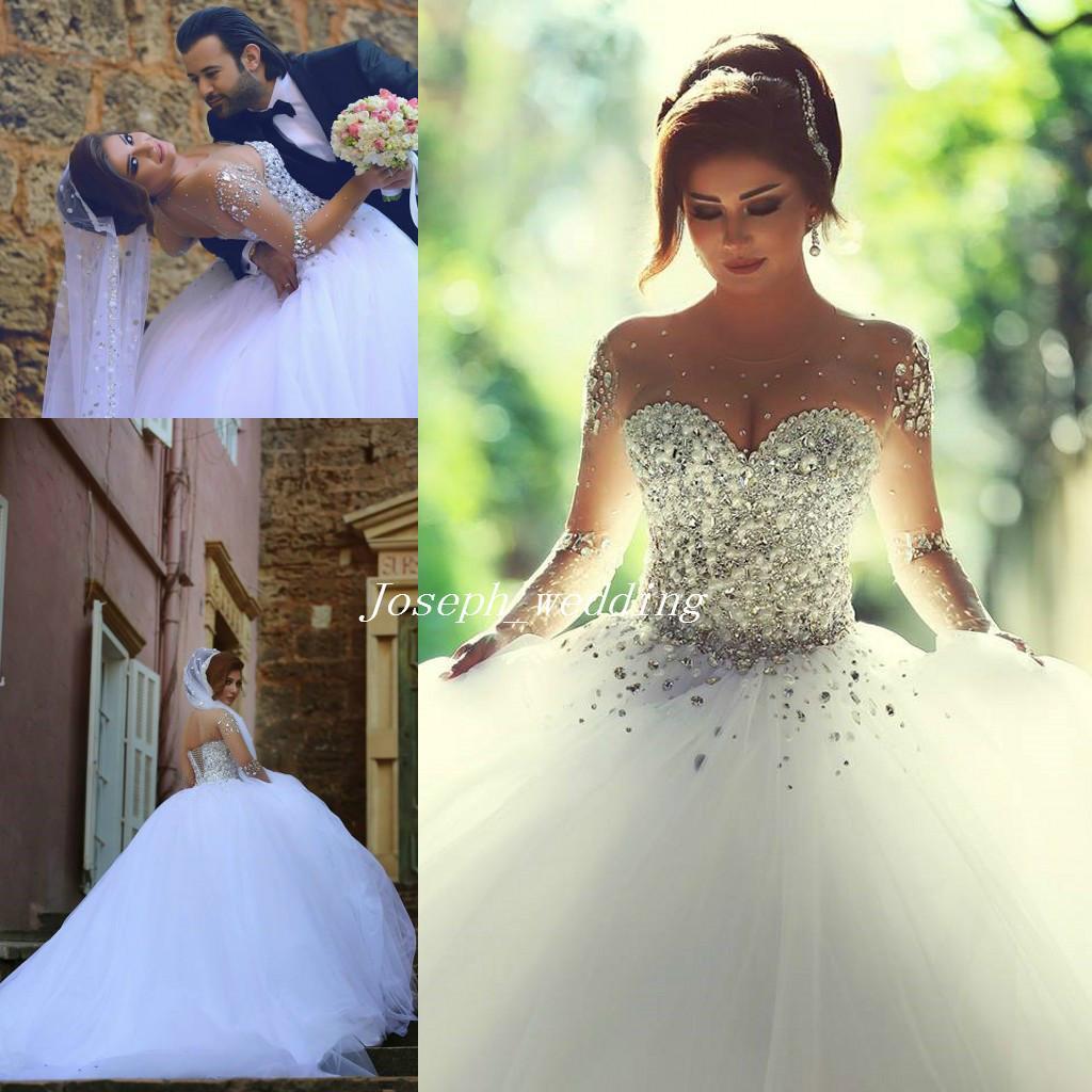 Luxurious 2019 Long Sleeves Wedding Dresses With Rhinestones ...
