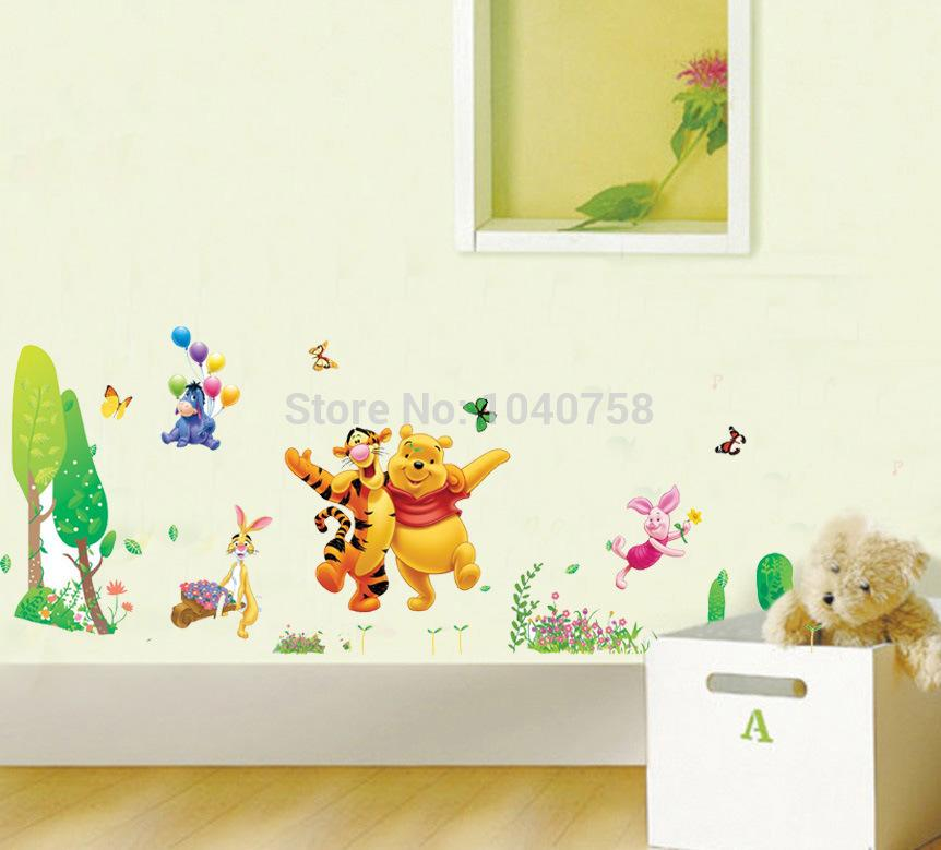 Home Decor Wall Sticker Removable Pvc Cartoon Winnie The Pooh Wall Stickers  For Kids Rooms Decoration Tigger Wall Decal Art Anime Poster Custom Wall ...