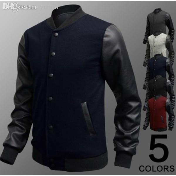 Fall New Men 2015 Sweater Pu Leather Collar Sweater Personalized ...