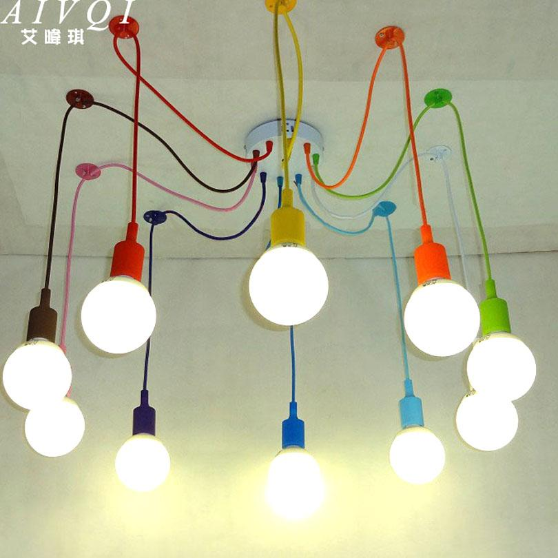 Silicone Colorful Pendant Lights Diy Multi Color E27 Bulb Holder Lamps Home Decoration Lighting 4 12 Arms Fabric Cable Pendants Red Metal