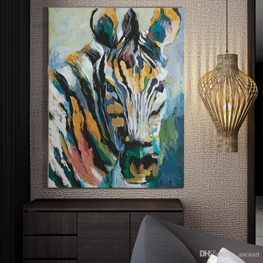 100% Hand-painted Cartoon Animal Wild Zebra Oil Painting on Canvas Mural Art Drawing for Office Home Wall Decor