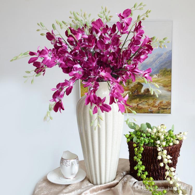 Elegant Dancing Phalaenopsis Artificial Silk Flowers Christmas Home Ornament Bouquet Wedding Centerpieces Decorations Supplies
