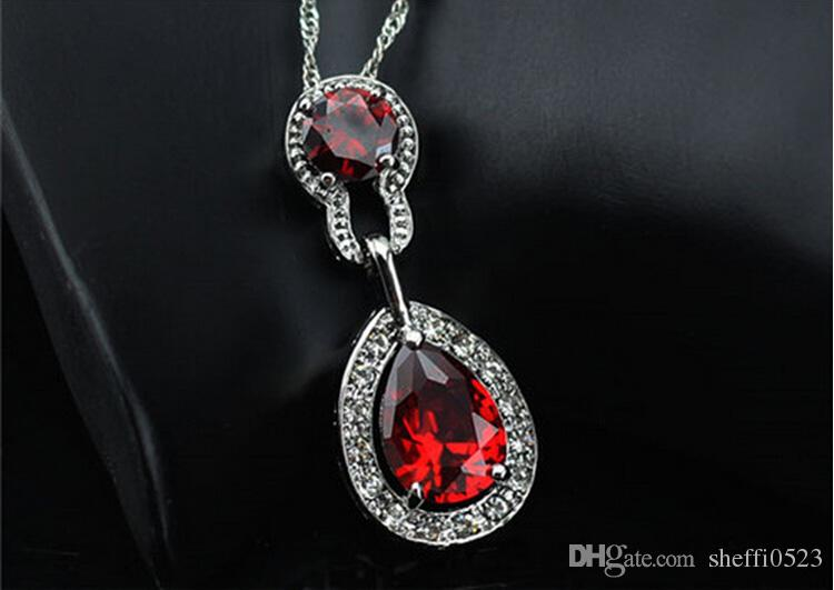 Water Drop Shaped Crystal Necklace Pendant Austria Crystal Diamond Full Surround Jewelry Fashion Women Necklace 8161