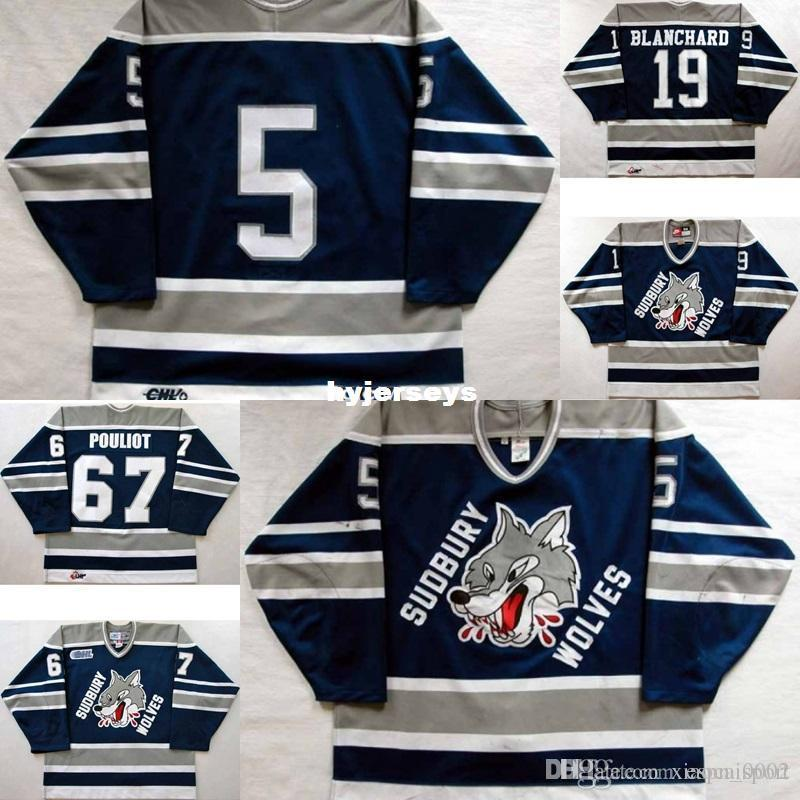 custom Customize OHL Sudbury Wolves Jersey Mens Womens Kids 5 Mike Wilson 19 Trevor Blanchard 67 Benoit Pouliot Hockey Jerseys Goalit Cut Ho