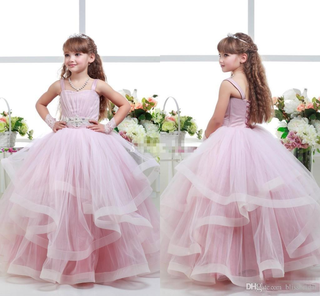 Princess Ball Gown Pink Flower Girl Dresses For Weddings Spaghetti STraps Lace Up Layered Organza Sastin Beaded Sash Junior Pageant Gowns