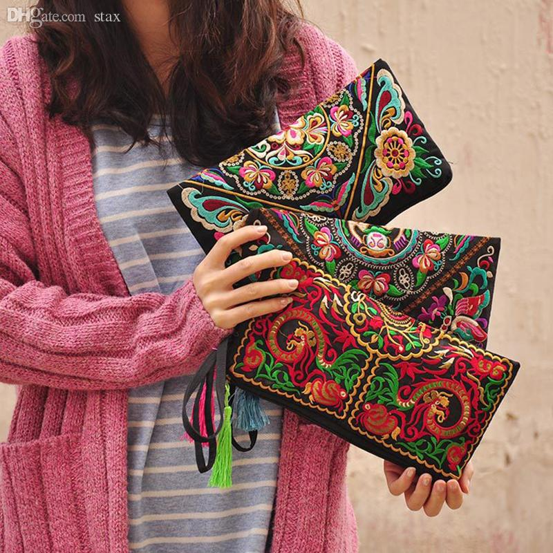 Ethnic National: Wholesale Women Ethnic National Retro Butterfly Flower Bag