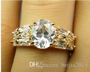 Роскошный 18k желтого твердого Позолоченные Циркон кристалл кольцо Gemstone Золотой обручальное любителей свадебные пары кольцо, бесплатная доставка