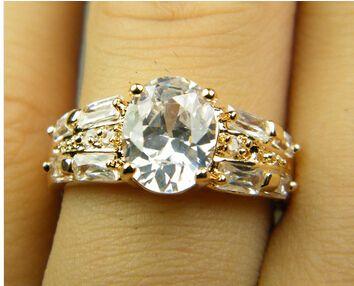 Luxus 18K Gelbgold vergoldet Kristall Zirkon Edelstein-Ring Gold-Verlobungshoch Liebhaber Paar Ring, freies Verschiffen