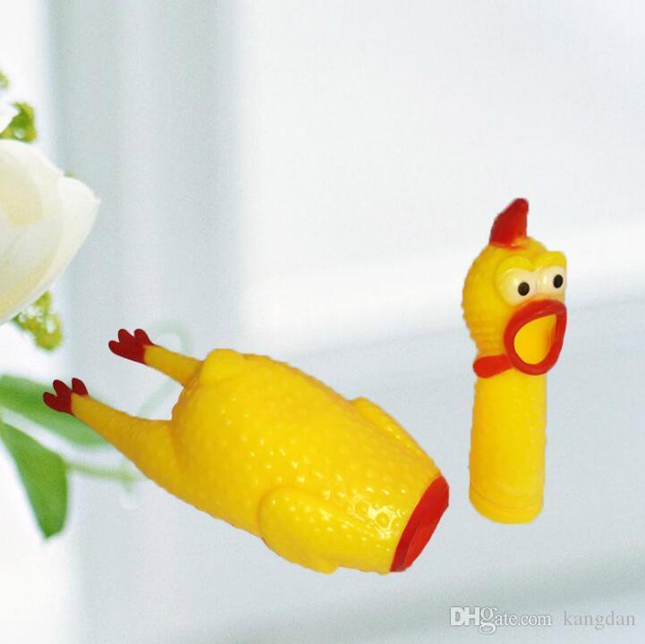 31x7cm Cute Yellow Shrilling forma di pollo Sound Pet Toy Dog Cat Non-toxi gomma da masticare Giocattoli divertenti giocattoli bambini festival suono