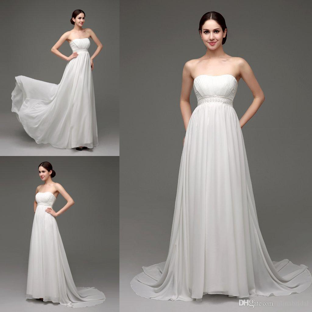 Discount Elegant Greek Maternity Wedding Dresses For Pregnant Women Strapless Long Chiffon In Stock Gowns Cheap Summer Beach Bridal Dress Shopping