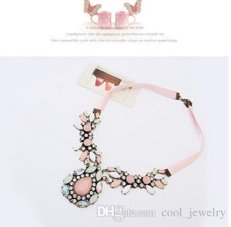 2016 Nuevas mujeres de moda de lujo rosa Rhinestone cristal gota de agua cinta colgante collar de párrafo corto temperamento