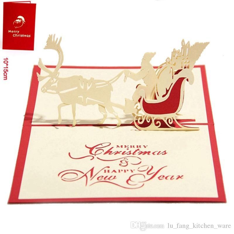 Nice Christmas Cards 3D Hollow Christmas Deer Car Handmade Custom ...