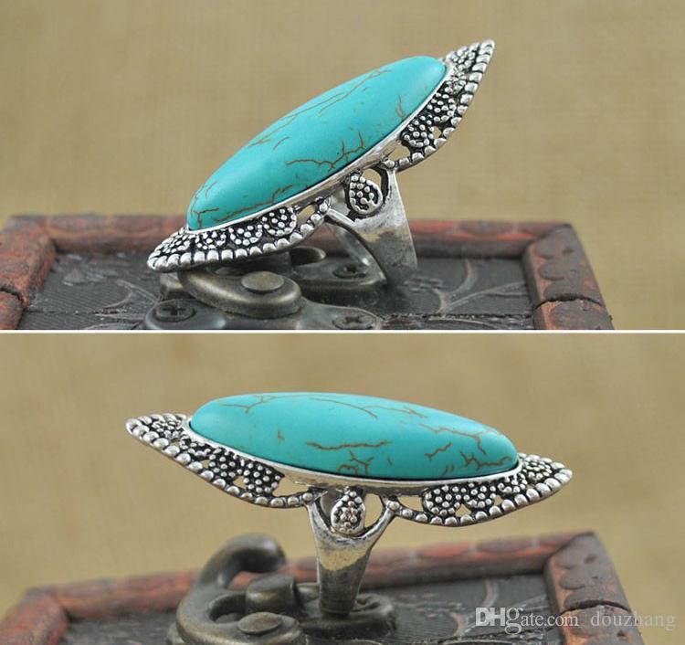 Mode Vintage Bohemian Turquoise Ringen voor Vrouwen Antiek Zilver Legering Carving Ring Gypsy Bobo Beach Jewelry Groothandel 12 stks