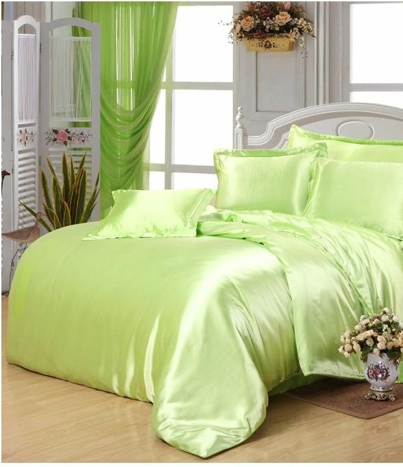 yellow green satin silk bedding set super king size queen full double quilt duvet cover fitted. Black Bedroom Furniture Sets. Home Design Ideas