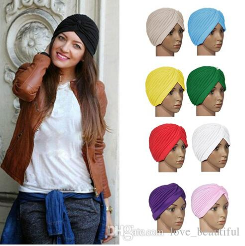 2015 Hot Sale Stretchy Turban Head Wrap Band Sleep Hat Chemo Bandana Hijab  Pleated Indian Cap Factory Price Crochet Baby Hats Ladies Hats From ... 4b28b5519d