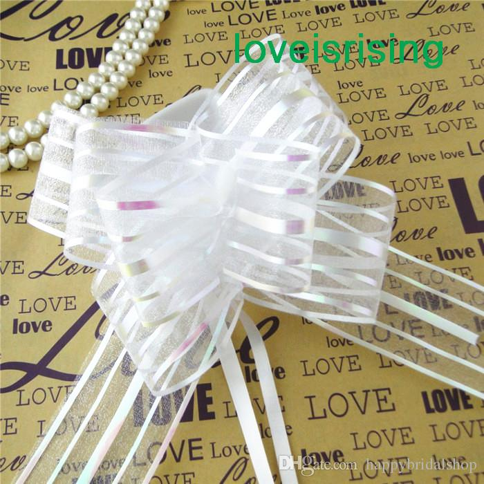 Tracking Number--5cm Large Size lavender Organza Pull Bows For Wedding Car Decor Wedding Organza Pull Flower Ribbons Gift Wrap