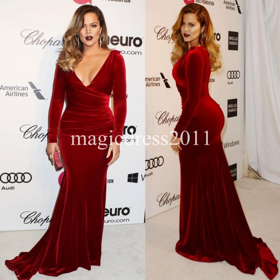 Khloe Kardashian 2019 Plus size Burgundy Mother s Dresses Long Sleeves  Mermaid Velvet Red Carpet Celebrity Dress Mother of the Bride Dress