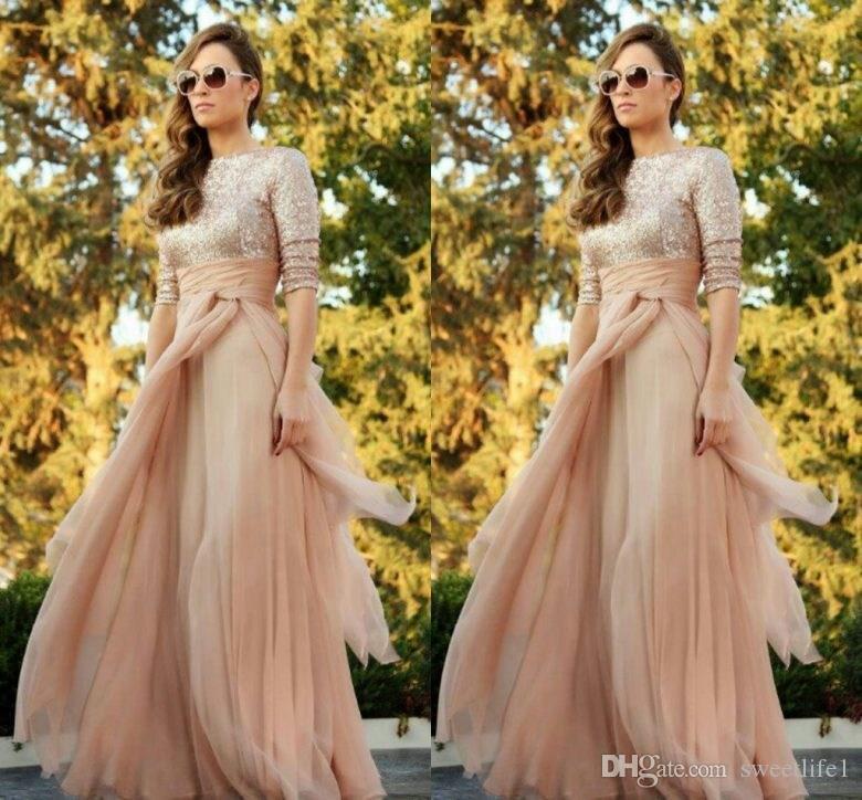 2020 Sparkly Blush Chiffon Bruidsmeisje Jurken Sexy Lange Mouw Pailletten Vloerlengte Maid of Honour Jurk Plus Size A Line Party Wear