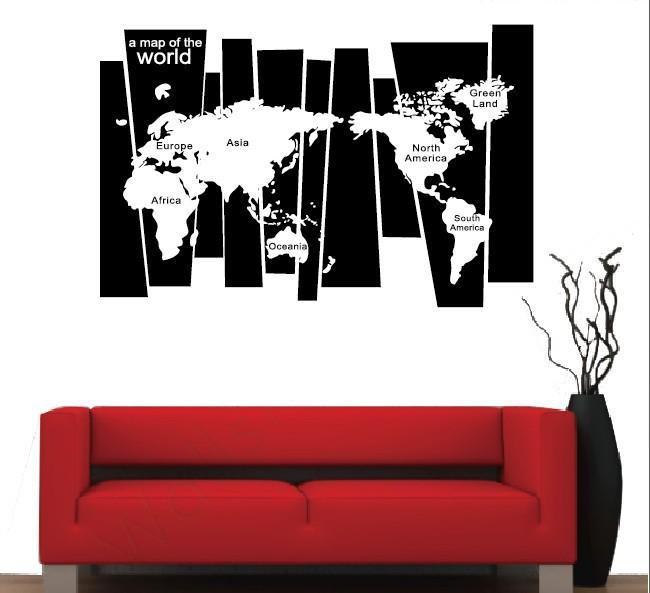 Removable pvc large world map wall sticker poster home decoration gross weightpackage 02 kg removable pvc large world map gumiabroncs Choice Image