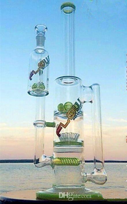 녹색 유리 물 파이프 유리 봉은 퍼크 라이너 퍼크와 재 포수 14mm 관절과 함께