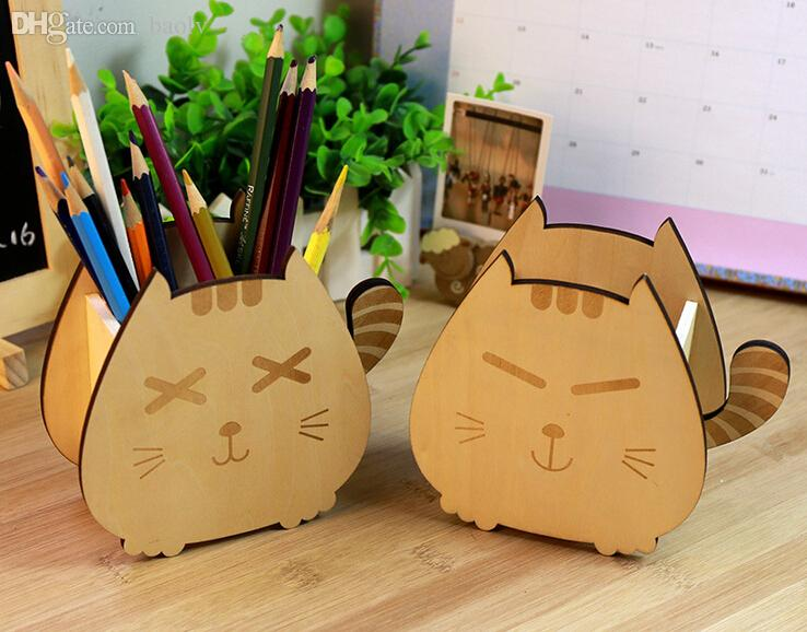 Charmant 2018 Wholesale Cute Wood Sleeping Cat U0026Amp; Smiling Cat Pencil Pen Holders  Desktop Organizers Containers Home Office Desk Accessories Free From Baolv,  ...