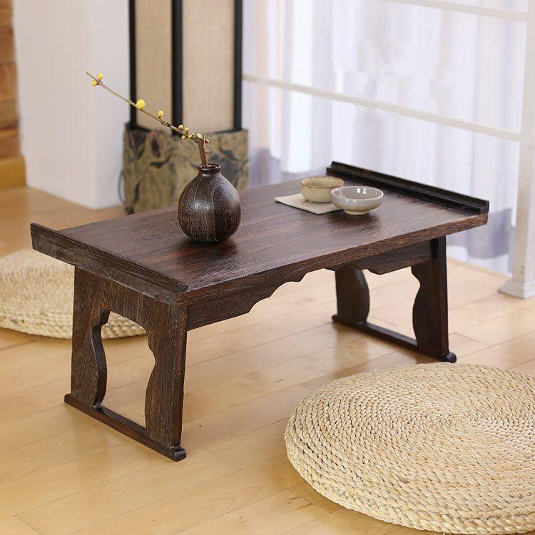 Grosshandel Japanische Antique Tea Tisch Klappbeine Rechteck 60