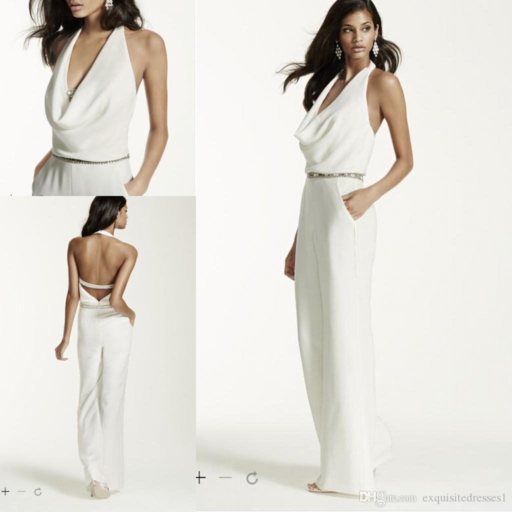 Cowl Neck Wedding Gown: Cheap Sexy Wedding Dresses Ivory Wedding Jumpsuit With