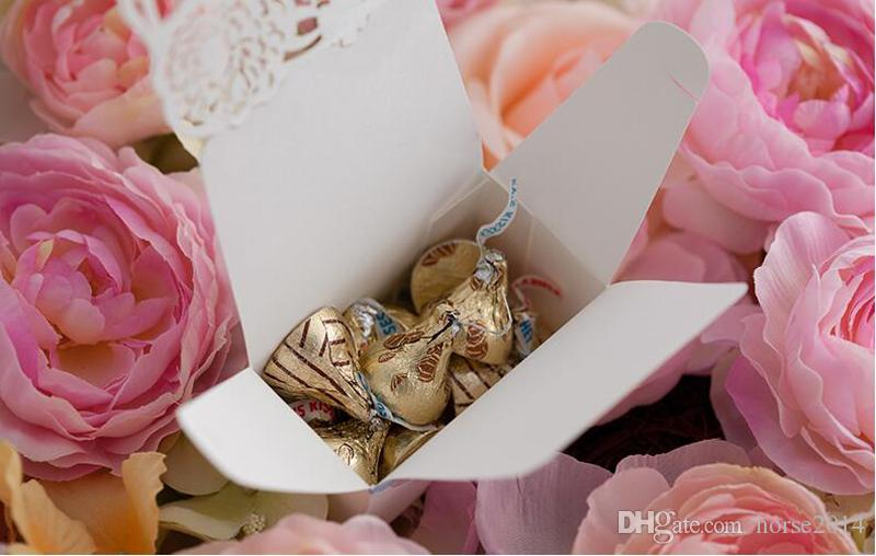 Chocolate Favor Box Flower Wedding Candy Holder Romantic Wedding Decoration Candy Box Small Size Laser Cut Paper Favors