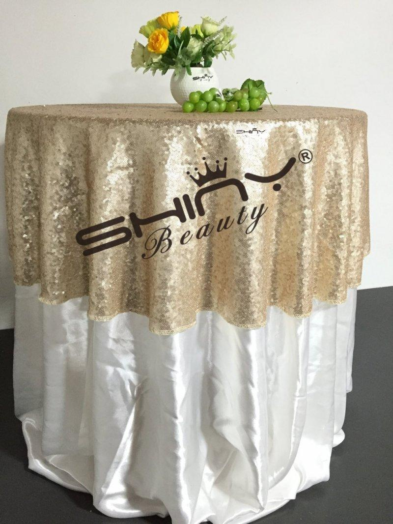 48 Round Champagne Sequin Tablecloth Wholesale Wedding Beautiful
