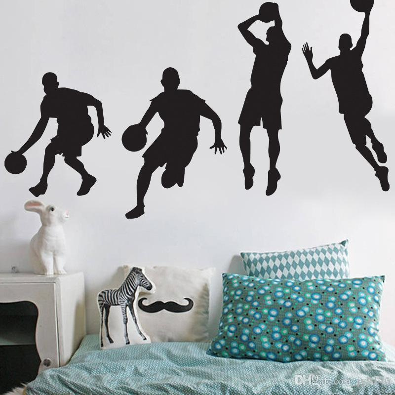 high quality basketball players wall stickers for boys basketball