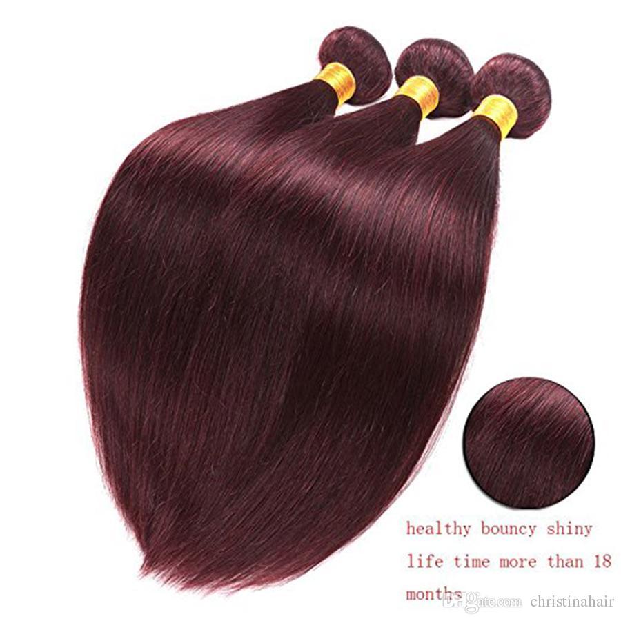 # 99J 클로저 와 부르고뉴 브라질 버진 헤어 위브 Wine 레드 실키 스트레이트 인간의 머리카락 4x4 '레이스 탑 폐쇄와 번들