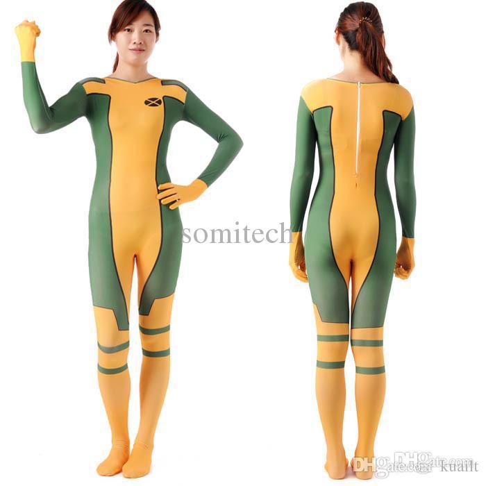 Wholesale Rogue Costume X Men Adult Superhero Cosplay Halloween ...
