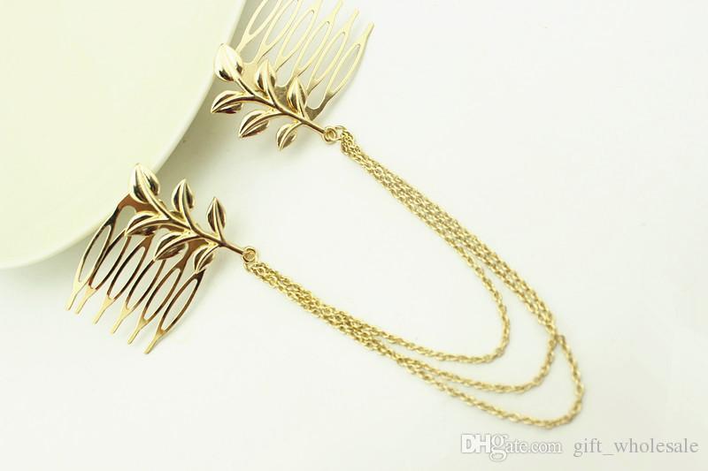 2015 Women Punk Chic Leaf Hair Comb Decoration Head Band Chains Clip Tassels Fringes