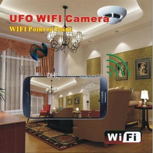 Detector de Fumaça Sem Fio UFO Wi-fi Câmera IP HD Mini Detector de Fumaça Câmera DVR para Smartphones PC internet Monitoramento de Vídeo ao vivo