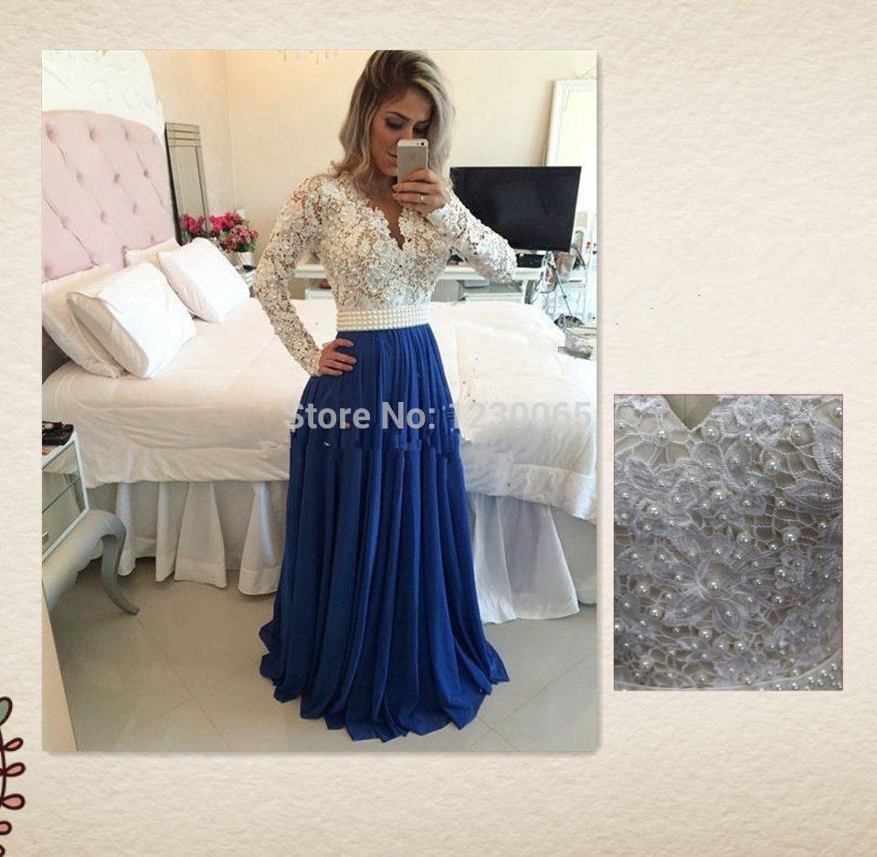 real photo free shipping long sleeve lace pearls a-line v-neck Elegant Formal Evening Dresses Prom Gowns Party For Weddings 2018